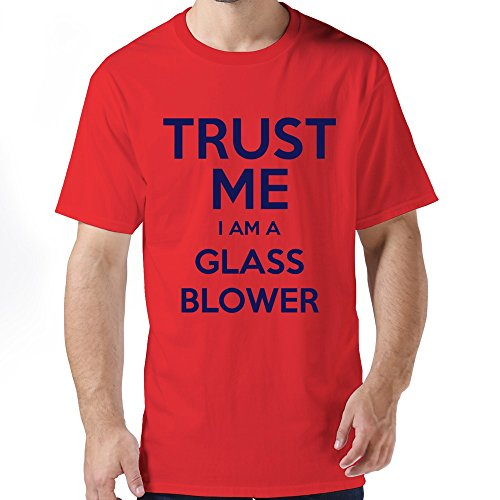 FJSC Men's Trust Me Glass Blower T Shirt Large Red