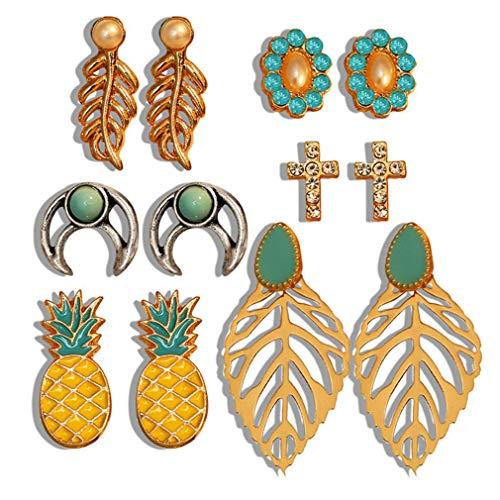 MOONQING Rhinestone Flower Earrings Set Enamel Pineapple Fruit Openwork Moon Earrings Creative Bohemian Earrings Set