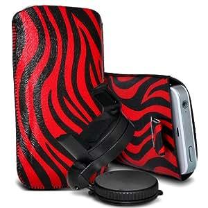 Samsung Galaxy Express 2 Protección Premium de Zebra PU tracción Piel Tab Slip Cord En cubierta de bolsa Pocket Skin rápida con el sostenedor 360 giratorio del parabrisas del coche cuna Rojo y Negro por Spyrox