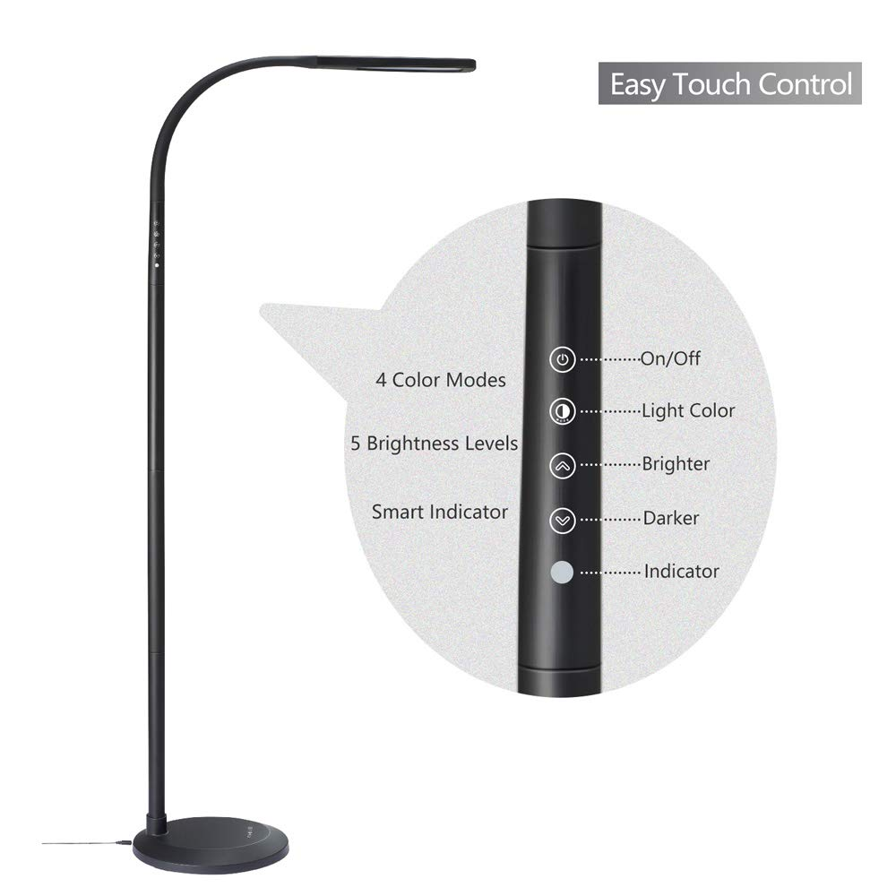 PHIVE LED Floor Lamp for Reading, Dimmable Gooseneck Standing Lamp (4 Color Modes, 5-Level Dimmer, 12W, Memory Function, Touch Control Floor Light for Living Room, Bedroom, Office) Black by PHIVE (Image #5)
