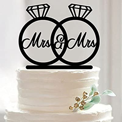 Pixnor Mr Mrs Ring Wedding Engagement Anniversary Cake Topper Bridal Shower Party Supplies