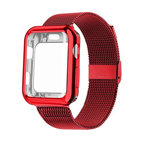 YC YANCH Compatible with Apple Watch Band 44mm with Case, Stainless Steel Mesh Loop Band with Apple Watch Screen Protector Compatible with iWatch Apple Watch Series 1/2/3/4/5 (44mm Red)
