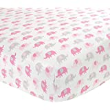 Carter's Cotton Fitted Crib Sheet, Pink Elephants
