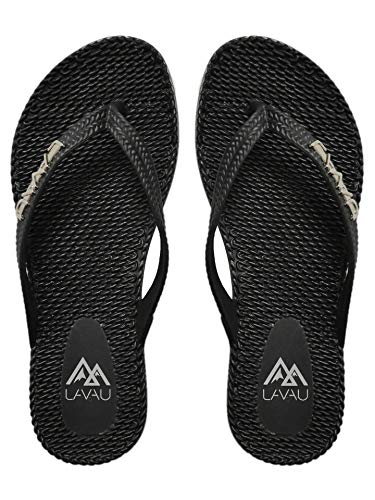 (LAVAU Comfort Thong Style Flip Flops Sandals for Women SS9001-W-heise-8 Black)