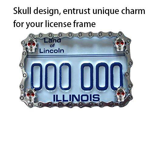 Heart Horse License Plate Tag Frame Bolts Screws Set for Universal Motorcycle ATV Trailer 6mm Skull 4PCS