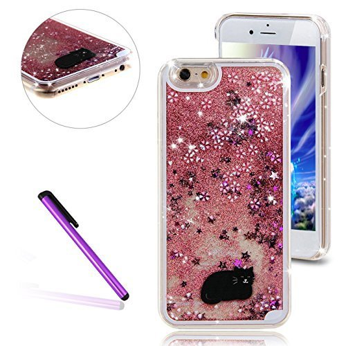 iPhone 6 Plus/6S Plus Case, EMAXELER 3D Angel Girl Brilliant Luxury Bling Glitter Liquid Floating Stars Moving Hard Case for iPhone 6 Plus/6S Plus+Send 1 Stylus Pen(Black Cat, Pink)