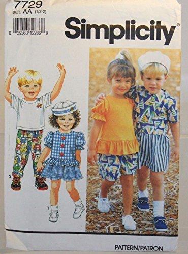 Simplicity 7729 Toddler Shorts, Pants, Skirt, Top & Sailor Hat Size AA 1/2-3 (1/2 thru 2 years) ()