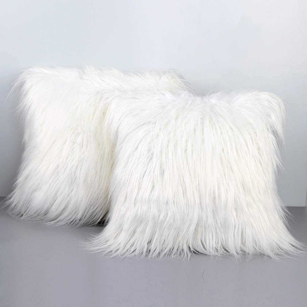 PartyTalk 2pcs White Fur Throw Pillow Case Cushion Cover for Sofa Bedroom Car, 18 x 18 inch Christmas Pillow Covers Decorative New Luxury Series Merino Style