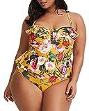 Womens Plus Size Swimwear Peplum Tankini Tops Tummy Control Floral Retro Swimsuits