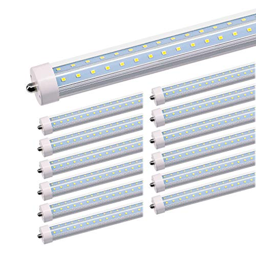 JESLED T8/T10/T12 8FT LED Tube Light, Single Pin FA8 Base, 50W 6000LM 5000K Daylight White, 270 Degree V Shaped LED Fluorescent Bulb (130W Replacement), Clear Cover, Dual-Ended Power (12-Pack) by JESLED (Image #9)