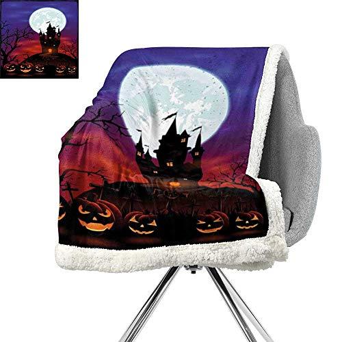 (ScottDecor Halloween Light Thermal Blanket,Gothic Haunted House Castle Hill Valley Night Sky October Festival Theme Print,Multicolor,Cozy,All-Season Berber Fleece Throw Blanket W59xL78.7)
