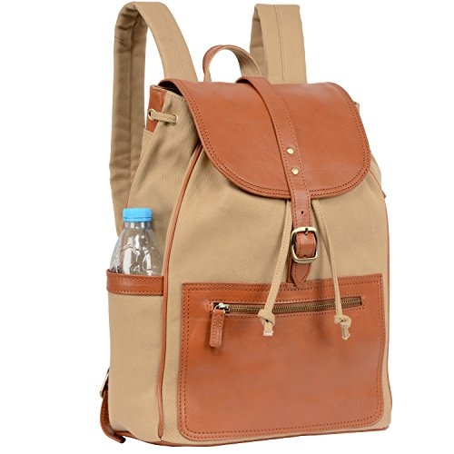 Expanding Poly Document Carrying Case - Banuce Canvas Leather Backpack for Men Women Outdoor Rucksack Casual College School Daypack Purse for 14 inch Laptop