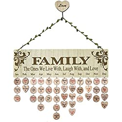 QTIVY Family and Friends Birthday Anniversary Calendar Wood Wall Sign Reminder Family Celebration Reminder Board Creative Gift DIY Wood Craft Home Decoration (Family)