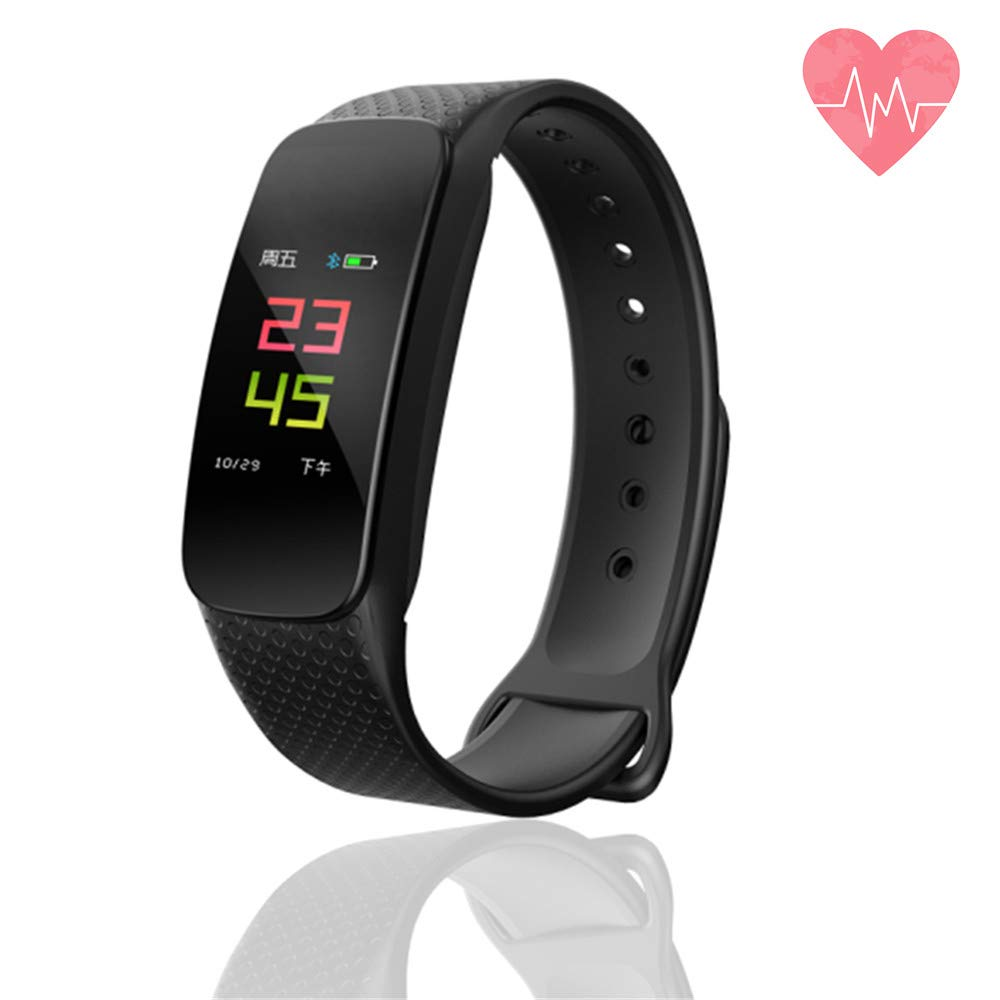 Smart Watch Fitness Tracker, Activity Tracker Watch Heart Rate Monitor, Bluetooth Wireless Smart Bracelet with Replacement Tape, Compatible with Android and iOS