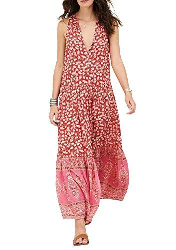 R.Vivimos Women's Summer Sleeveless Floral Print Button Up Bohemian Flowy Maxi Dresses (XL, Style 1: Red)