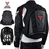 MotoCentric Motorcycle Leather Waterproof Backpack Riding Laptop Helmet Shoulder Bag Package (Red)