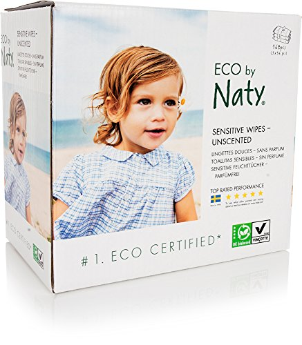 Eco by Naty Thick Baby Wipes for Sensitive Skin, Unscented, Hypoallergenic, Biodegradable and Compostable, 3 Packs of 56 (168 Wipes) - Natural Biodegradable Wipes