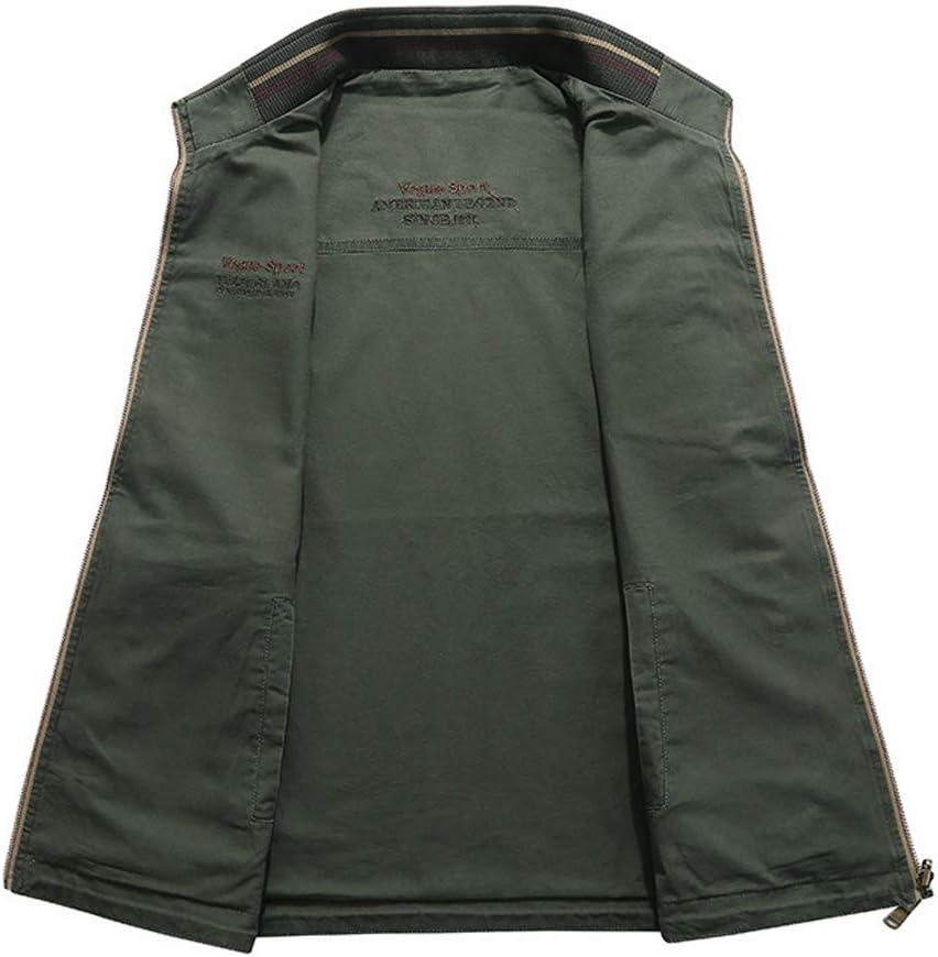 ZTJ-Lighting Uomo Leggero Vest, Casual Gilet Outdoor con Multi Tasche, Zip Giacca Senza Maniche per Safari Fishing Foto di Viaggio Estivo Work Vest Green
