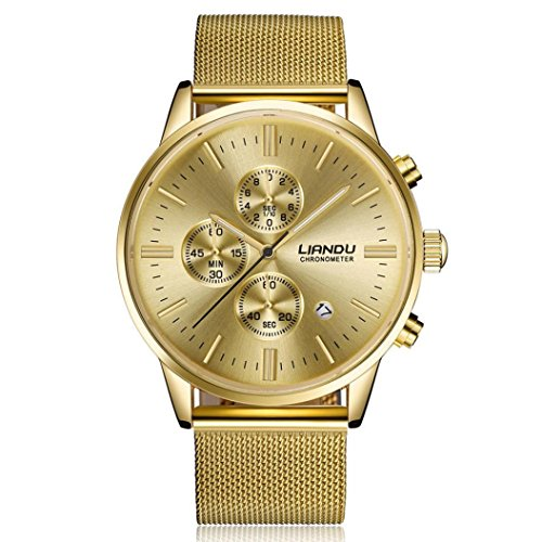 Pocciol Watches Waterproof Sport Watch Luminous Analog Quartz Business Luxury Dress Wrist Watch Casual Clock Watches for Men (Gold) by Pocciol (Image #5)
