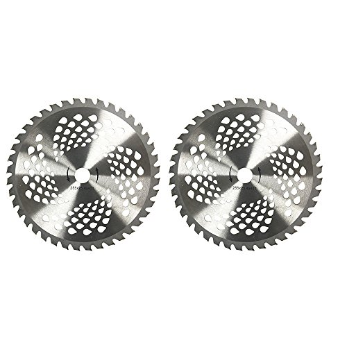 """KNKPOWER 2pk 10"""" 40 Teeth Carbide Blades for Brush Cutter, Trimmer, Weed Eater Blade, Bore 1"""""""