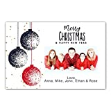 30 Christmas Family Photo Card Holiday Greeting Personalized Ornaments Blue Red Photo Paper