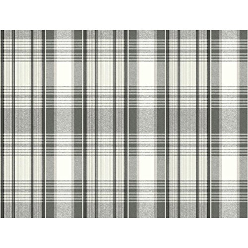 Plaid Wallpaper - York Wallcoverings Bartola Plaid Removable Wallpaper, Blacks