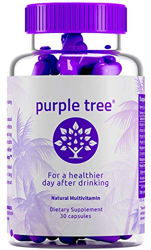 Purple Tree Hangover Cure & Prevention Pills | Dihydromyricetin (DHM), N-Acetyl L-Cysteine NAC, Willow Bark, Vitamin B | Promote Liver Health & Detox | Made in USA | 30 ()