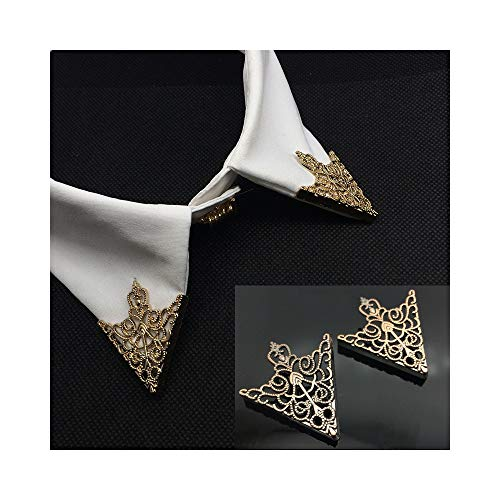 (JUESJ Hollow Triangle Crown Pattern Shirt Collar Clip Brooch Pin for Women Men Uniform Accessories (Gold))