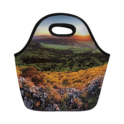 Nature Durable Lunch Bag,Balkans Slovakian Mountain Valley at Sunset Sky Surreal Landscape for School Office,11.0