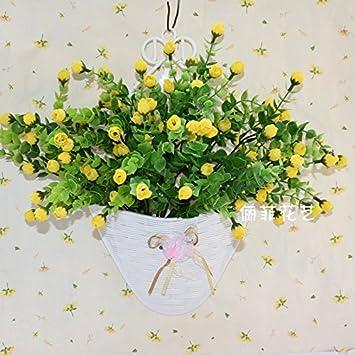 Künstliche Blumen Kunststoffkorb Hängende Wand Hängenden Korb Topf  Simulation Blume Pflanzen Im Wohnzimmer Dekoration Blumen,