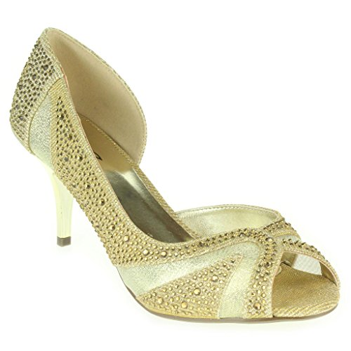 Mujer Señoras Piedras de Strass Brillar Corte lateral Peep Toe Tacón medio Noche Boda Fiesta Paseo Sandalias Zapatos Talla Oro