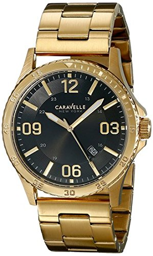Caravelle New York Men's 44B104 Analog Display Japanese Quartz Yellow Gold Watch