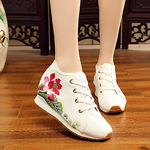 5 US5 TTSHOES Ricamati Footing 5 Scarpe Punta Innovativo Quadrato Tonda UK3 EU36 Oxfords Per Donna Corda Autunno Comoda Di CN35 Fibbia White Estate Piatto Scarpe FFHgrq