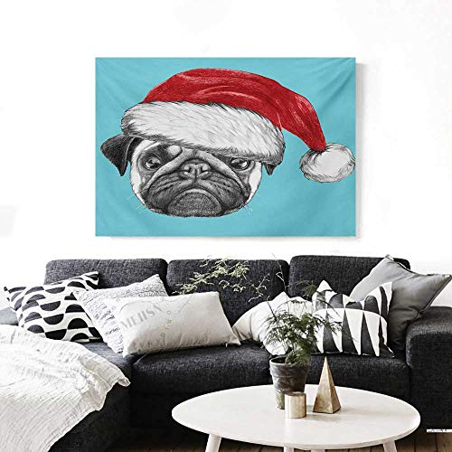 (Pug The Picture for Home Decoration Dog Portrait with Santa Hat Christmas Imagery Fun Illustration on Blue Background Customizable Wall Stickers 24