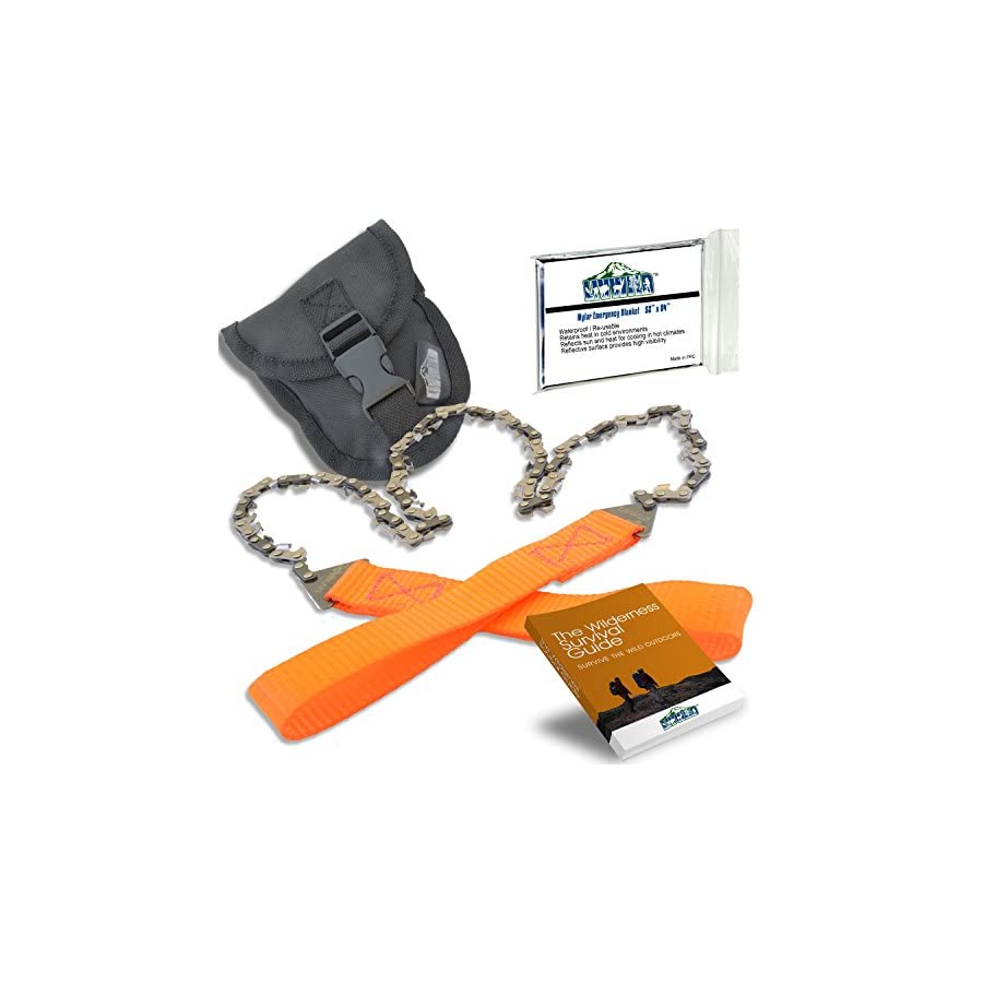 """26"""" Camping Pocket Chainsaw Cuts 3X Faster w/Blade on Every Link Bonus Front Snap Carrying Case, The Wilderness Survival Guide eBook, and Mylar Emergency Blanket"""