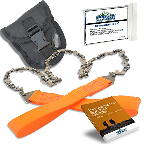 "26"" Camping Pocket Chainsaw Cuts 3X Faster w/Blade on Every Link - Bonus Front Snap Carrying Case, The Wilderness Survival Guide eBook, and Mylar Emergency Blanket"