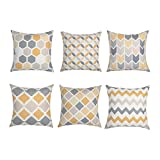 Decorative Pillow Cover - Top Finel Decorative Throw Pillow Covers Brushed Microfiber Square Outdoor Pillowcase Geometry For Sofa Home Set of 6, 18x18 Inch-Grey&Yellow