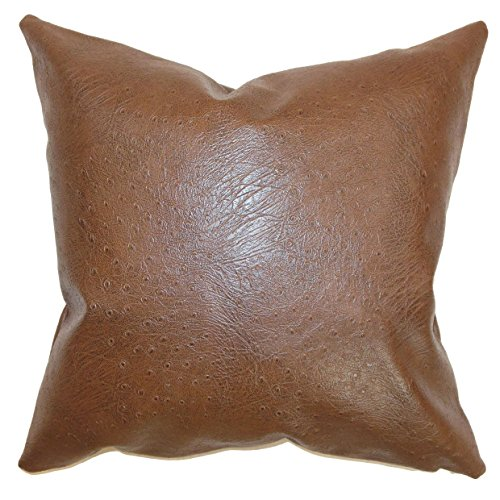 The Pillow Collection EURO-MVT-1183-FUAXLEATHER Brown Airlie Faux Leather Bedding Sham, European/26