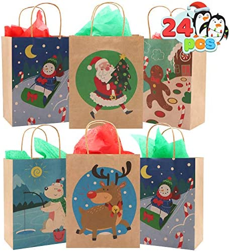 "24 Christmas Holiday Kraft Paper Gift Bags 9""x 7""x4"" for Christmas Goody Bags, Xmas Gift Bags, School Classrooms and Party Favors Goodie Bag"