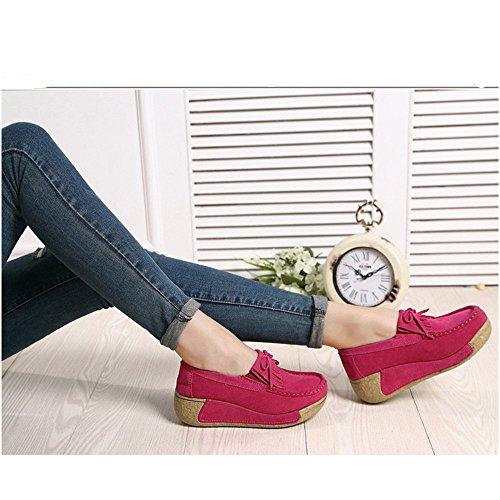 Pelle Da Loafers Dadaze Comode Scarpe Con Rosa Moda Mocassini Scamosciata Casual Outdoor In Donna Rossa Zeppa Fqww51W8B