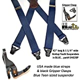 """Hold-Ups 42"""" Teen Hold-up Brand Blue Suspenders"""