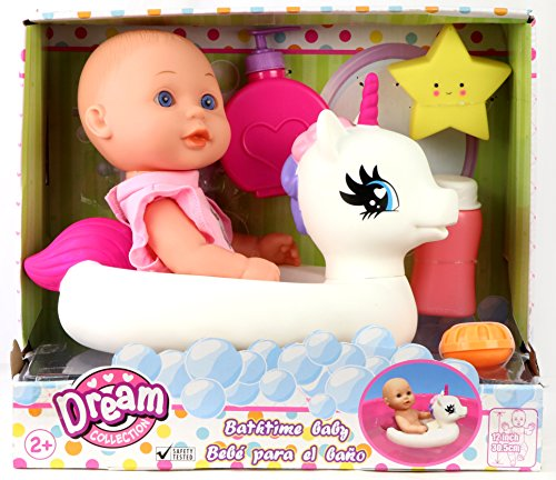 "Gi-Go  Bath Time 12"" Baby Doll with Unicorn Floatie"