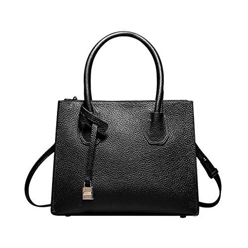 Dissa Q0871A Damen Schwarz Leder Handtaschen Satchel Tote Taschen Schultertaschen,26X13X21CM(LxBxH)