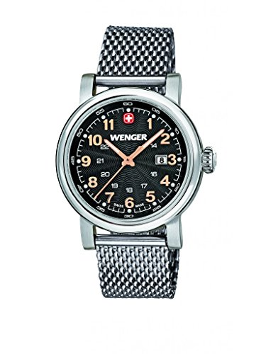 Wenger Urban Classic women's quartz Watch with black Dial analogue Display and silver stainless steel Bracelet 011021106
