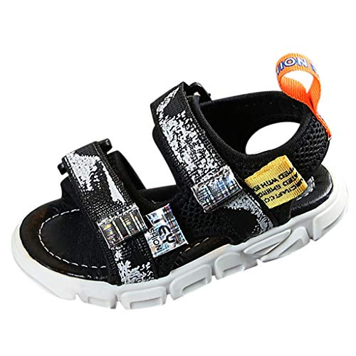 (Haalife◕‿¿Girl's Summer Shoes Soft Leather Sandals Open-Toe Adjustable Flat Sandal Casual Shoes Outdoor and Indoor from Black)