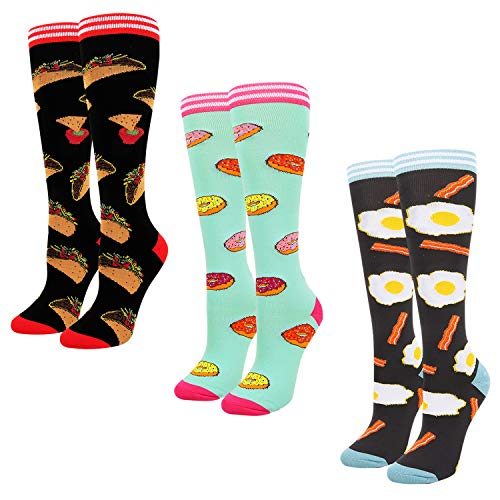 (Happypop Novelty Athletic Socks Funny Crazy Food Fried Eggs Bacon Tacos Mexican Corn Roll Donuts Knee High Calf Socks for Women, Pack of 3)