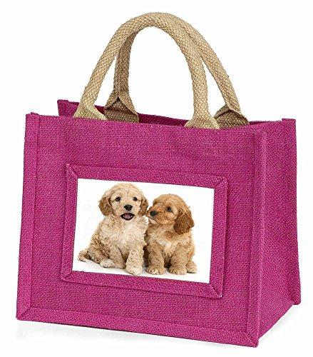 Advanta–Mini Pink Jute Tasche COCKERPOO Welpen kleine Mädchen Kleine Einkaufstasche Weihnachten Geschenk, Jute, pink, 25,5x 21x 2cm