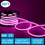 Led Neon Lights, Shine Decor Pink Rope Lights, Update Waterproof 2835 120Leds/M, 50ft, 240V, Included All Necessary Accessories, Flex Durable Super Bright For Outdoor Decor Or Commercial Use