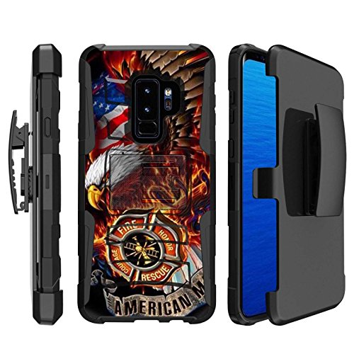 ([SkinGuardz] Samsung Galaxy S9Plus/S9 PLUS [Black] Tactical Armor Case [KickStand] [Holster] [Fire Fighter Eagle Print])