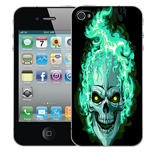 Mobile Case Mate iPhone 5 Silicone Coque couverture case cover Pare-chocs + STYLET - Blue Fire Skull pattern (SILICON)